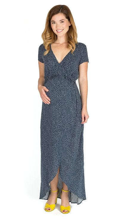 Nom Maternity Delilah Wrap Maxi Dress | Navy Dot