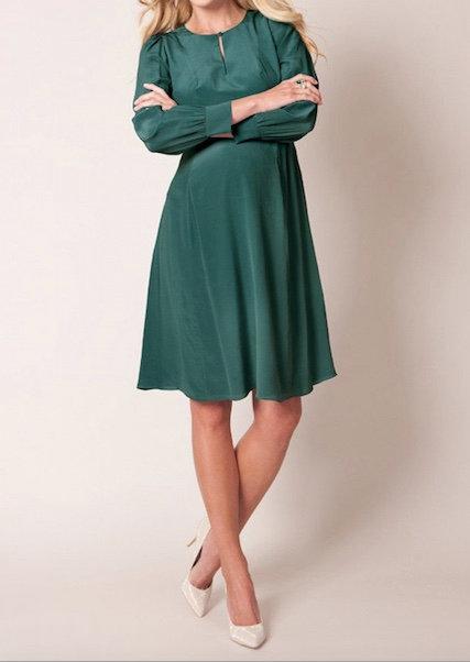 Seraphine Silk Key-Hole Maternity Dress | Emerald