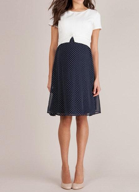 Seraphine Navy Blue & Ivory Silk Maternity Dress