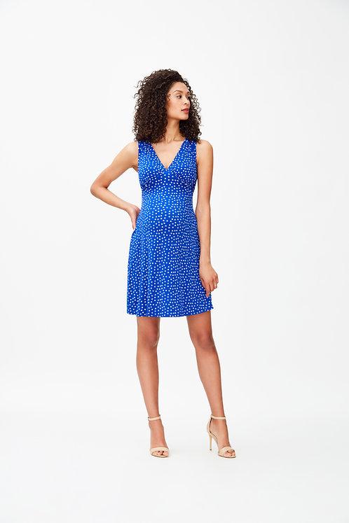 Leota Isabella Dress | Cobalt Confetti Dot