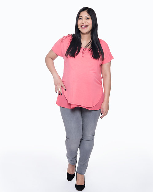 Seraphine Double Layer Maternity & Nursing Top | Coral