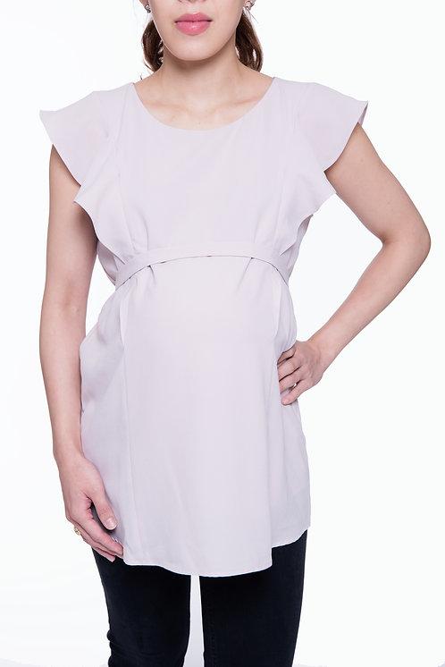 Seraphine Flutter Sleeve Maternity & Nursing Top | Blush pink