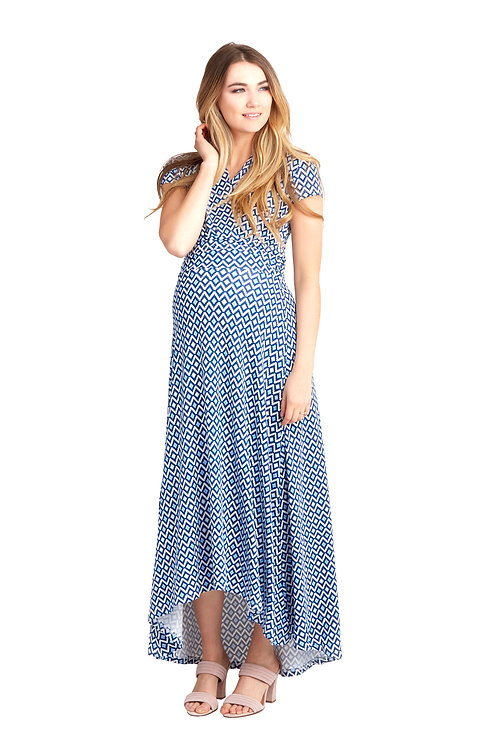 Nom Maternity Caroline Dress | Blue Geo