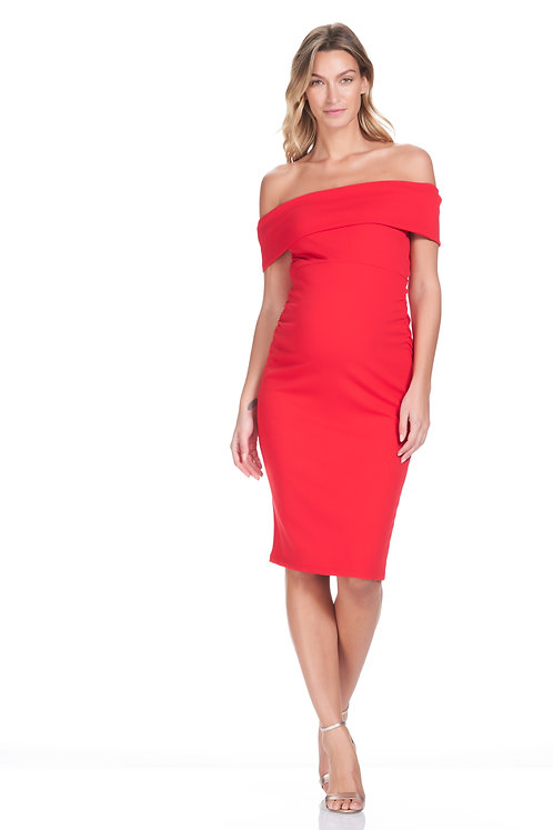Soon Maternity Claire Off-Shoulder Dress | Red