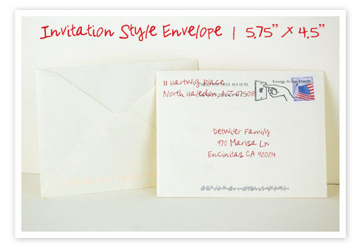 personalized hand written invitation style beige envelope for real estate investors