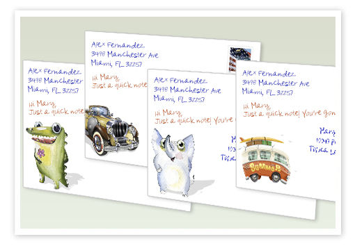 hand written envelopes with doodles by gobig printng and yellow letter