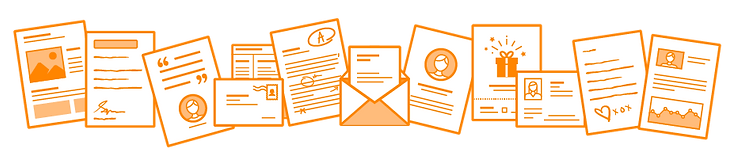 PRINTgenie direct mail templates built with mail merge