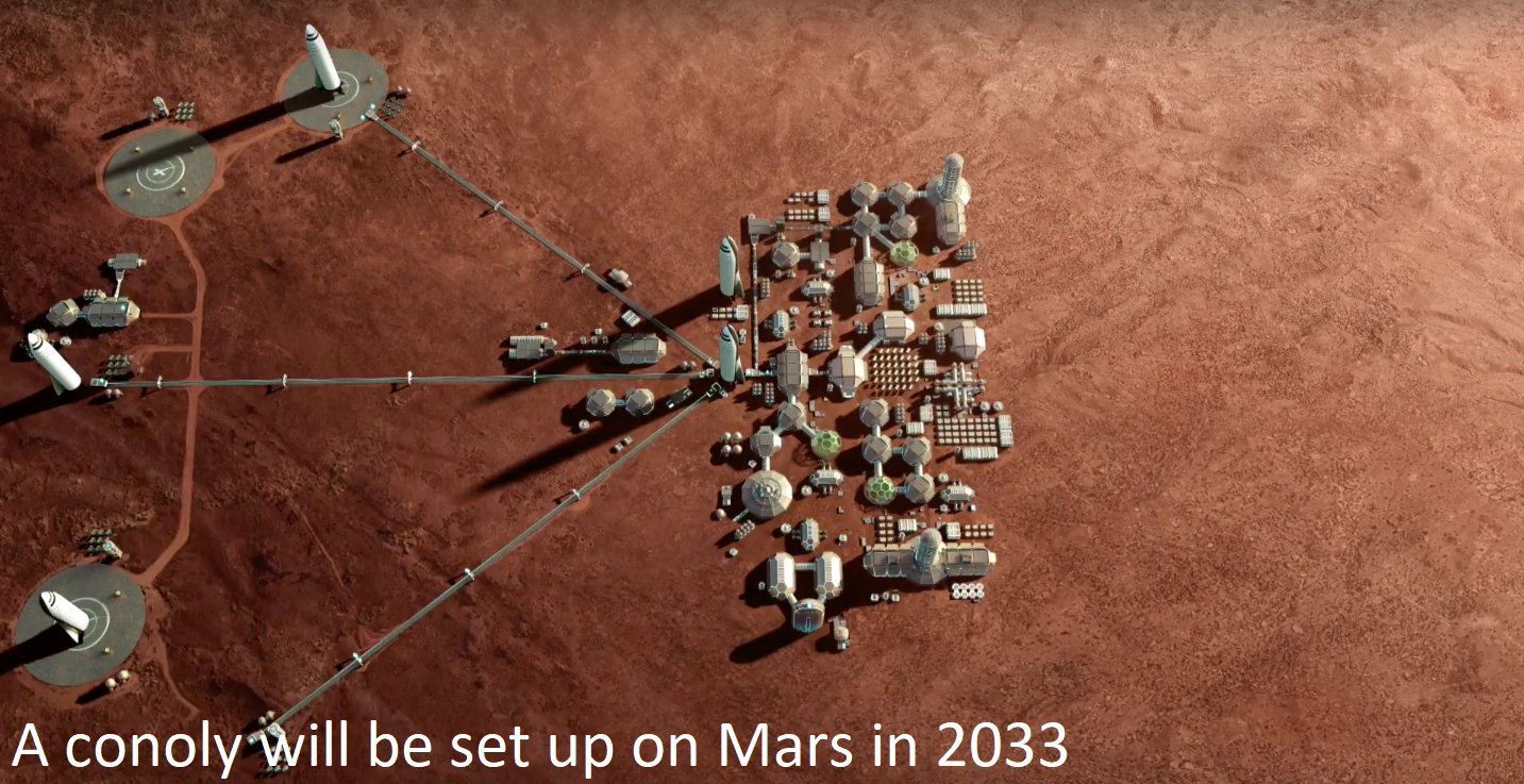A colony will be set up on Mars