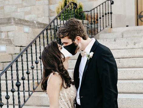 COVID-19 wedding, Couple Kissing, Mask Kiss, Wedding Photo