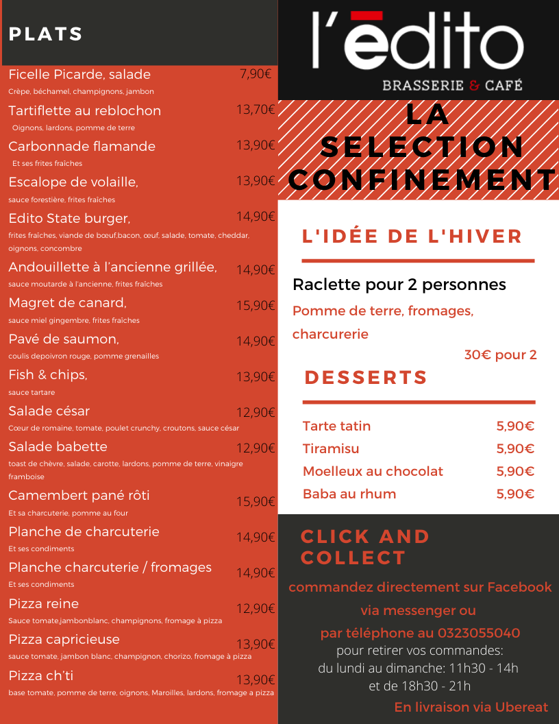 menu restaurant saint quentin confinemen