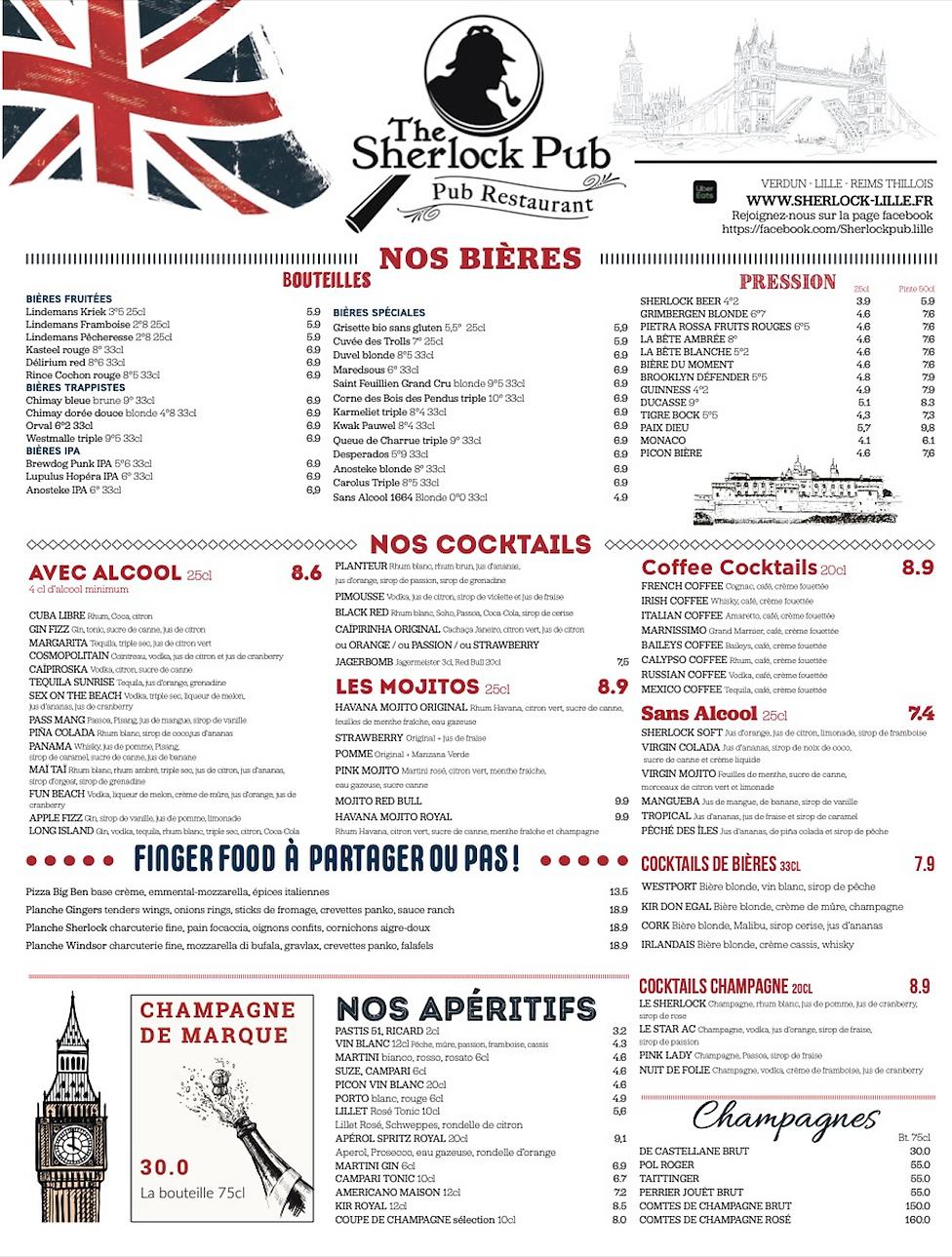 1 Restaurant Lille Brasserie Lille - The Sherlock Pub Lille.png