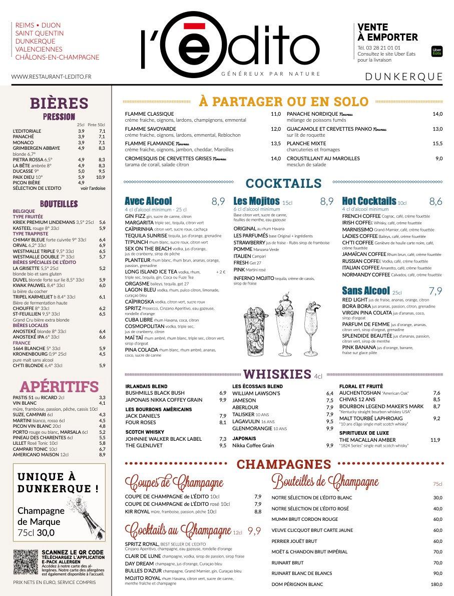 restaurant dunkerque ouvert Edito Menu.j