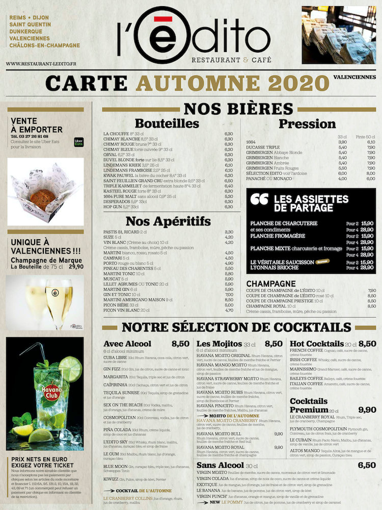 carte Restaurant Valenciennes Edito Trai
