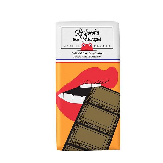 Organic milk chocolate with hazelnuts