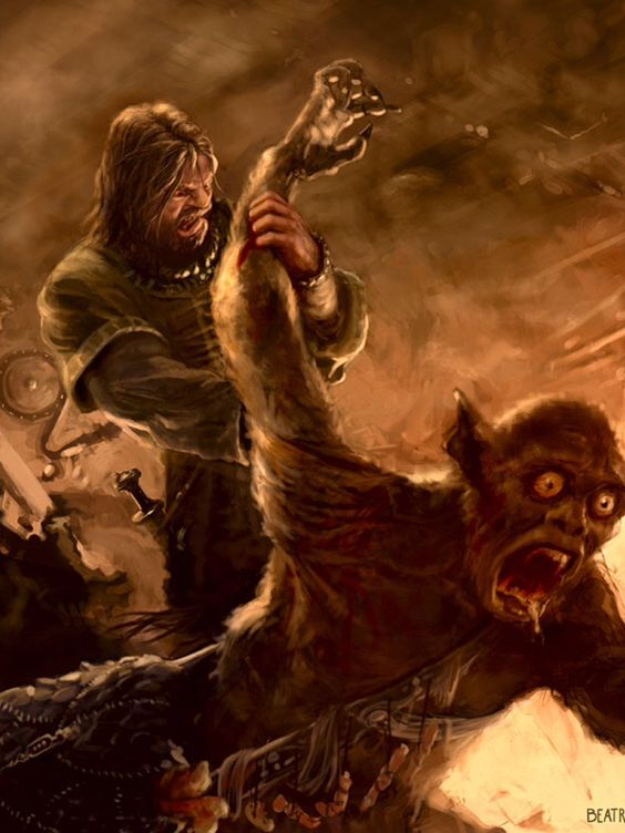 Beowulf vs. Grendel by Izzy-Kei on DeviantArt |Beowulf Fighting Grendel Drawing