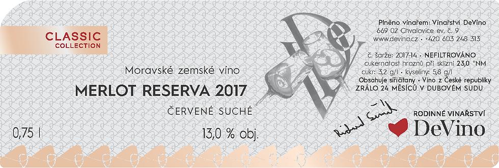 MERLOT RESERVA 2017 suché č. šarže 2017-14