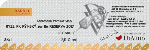 RYZLINK RÝNSKÝ sur lie 2017 RESERVA suché č. šarže 2017-19/B