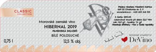 HIBERNAL 2019 PANENESKÁ SKLIZEŇ polosuché č. šarže 2019-05