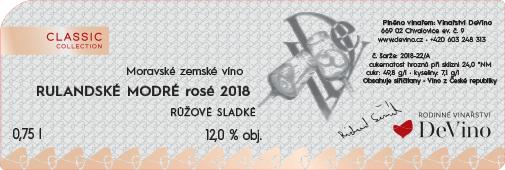 RULANDSKÉ MODRÉ ROSE 2018 sladké č. šarže 2018-22/A