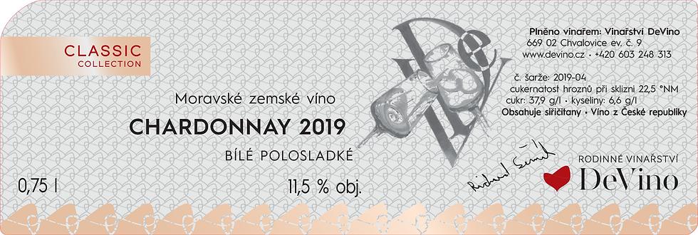 CHARDONNAY 2019 Polosladké bílé 0,75l č. šarže 2019-04