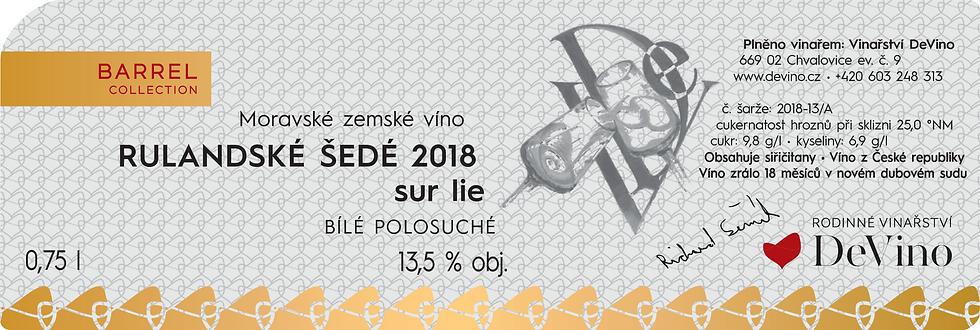 RULANDSKE ŠEDÉ sur lie 2018 Polosuché bílé 0,75l č. šarže 2018-13/A