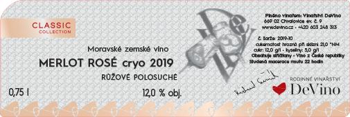 MERLOT ROSÉ CRYO 2019 polosuché č. šarže 2019-10