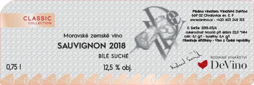 SAUVIGNON 2018 suché č. šarže 2018-05/A