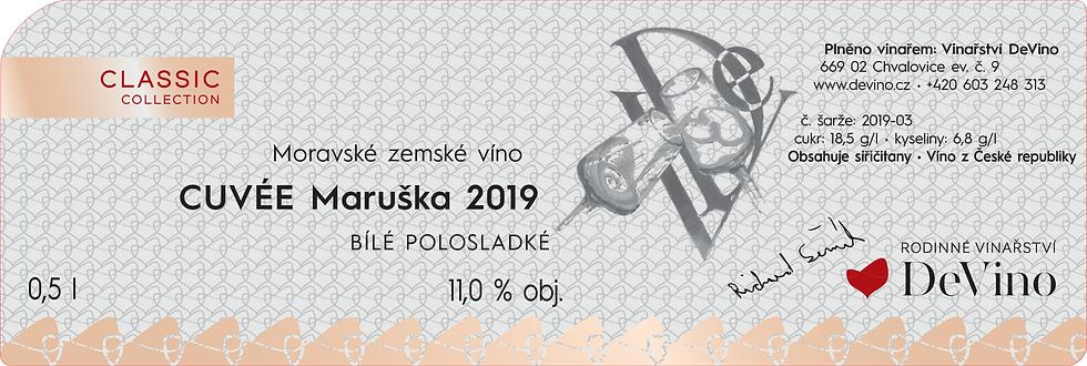 CUVÉE MARUŠKA 2019 Polosladké bílé 0,5l č. šarže 2019-03