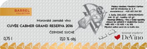 CUVÉE CABMER GRAND RESERVA 2016 červené suché č. šarže 2016-23/B