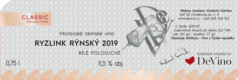 RYZLINK RÝNSKÝ 2019 Polosuché bílé 0,75l č. šarže 2019-07
