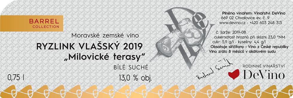 "RYZLINK VLAŠSKÝ ""Milovické Terasy"" 2019 l Suché bílé 0,75l č. šarže 2019-08"