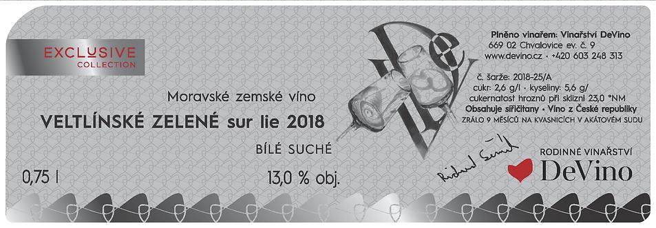 VELTLÍNSKÉ ZELENÉ 2018 sur lie suché č. šarže 2018-25/A