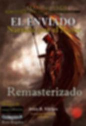 """Portada de El Enviado(Figura de hombr con el texto """"remasterizado"""" alado de perfil)"""
