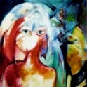 Pintura abstracta, muje en primer plano