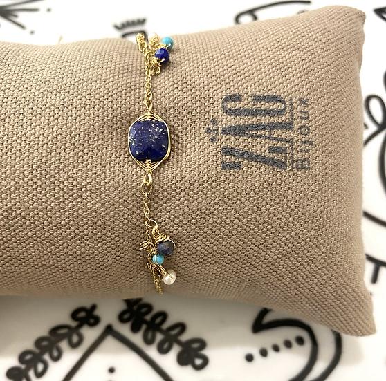 Bracelet , Lapis Lazuli et Turquoise - ZAG Bijoux