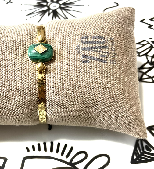 Bracelet maille plate, malachite - ZAG Bijoux