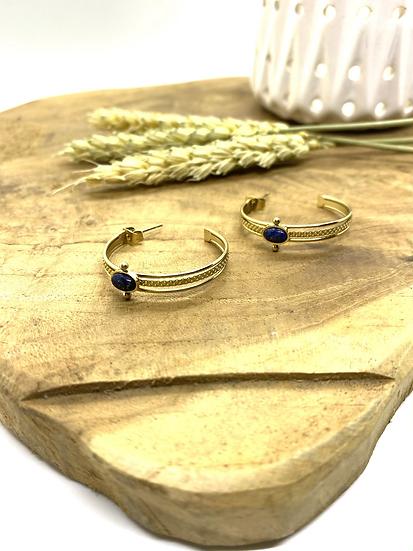 Créoles ouvertes, Lapis Lazuli - ZAG Bijoux