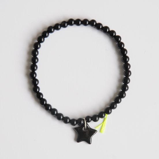Bracelet Divine Etoile 4mm Noir, Margote Ceramiste