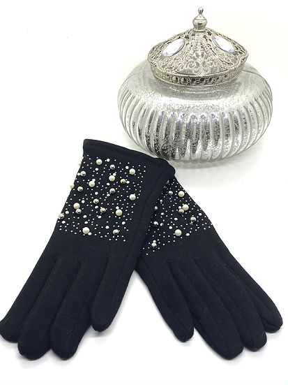 Gants noir avec strass et perles