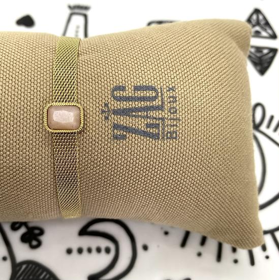 Bracelet maille plate, Pierre de Lune  - ZAG Bijoux