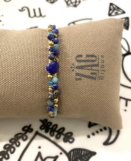 Jonc ouvert, Lapis Lazuli et Turquoise - ZAG Bijoux