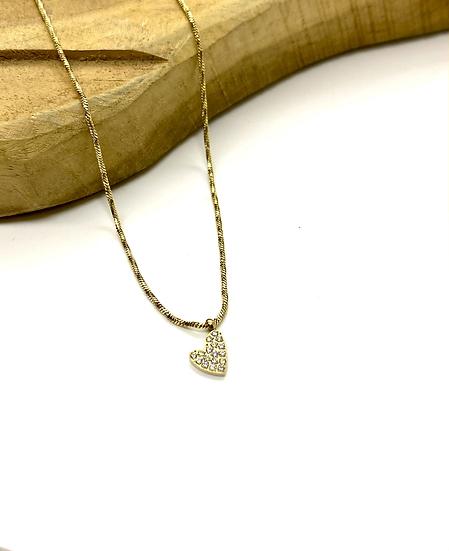 Collier Coeur avec Zirconiums - Doré - ZAG Bijoux