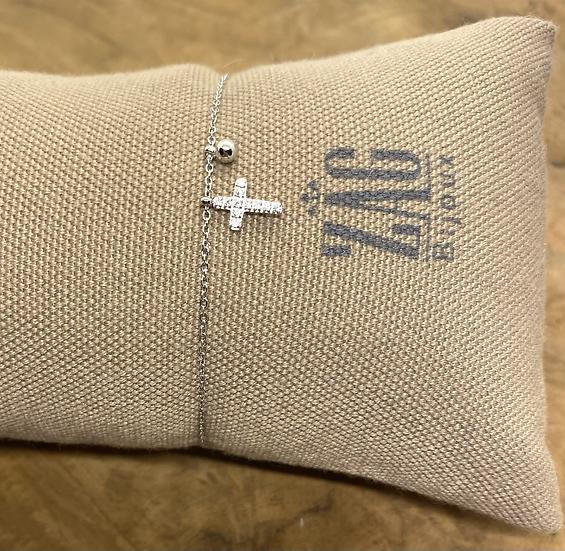 Bracelet Croix sertie de Zirconiums - ZAG Bijoux