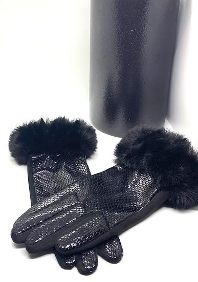 Gants noir imprimé python et fausse fourrure