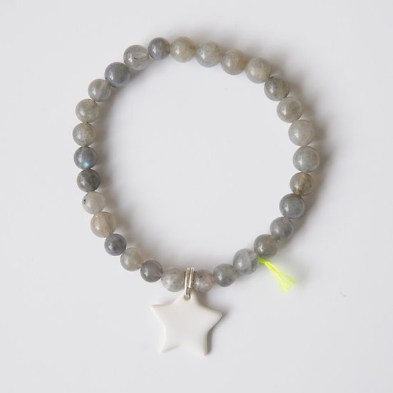 Bracelet Divine Etoile 6mm Gris, Margote Ceramiste