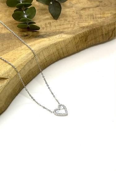 Collier Coeur avec Zirconiums - Argenté - ZAG Bijoux