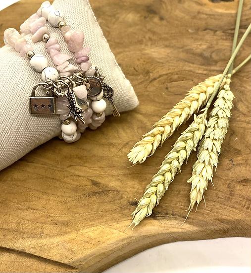 Bracelet Triple en pierres semi-précieuses, Shabada