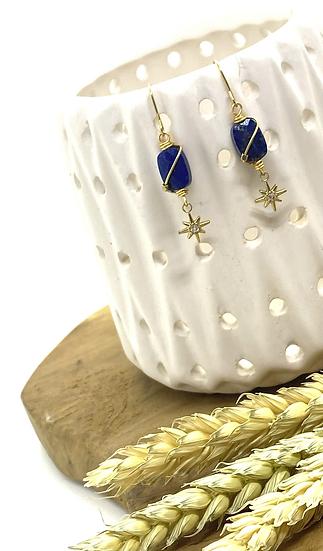 Boucles d'oreilles, Lapis Lazuli - ZAG Bijoux