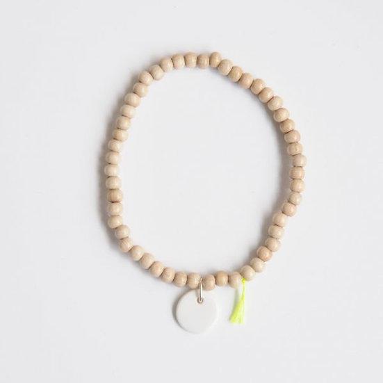 Bracelet Wood Pastille 6mm Blanc, Margote Ceramiste