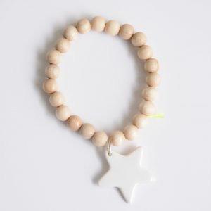 Bracelet Wood Etoile 8mm Blanc, Margote Ceramiste